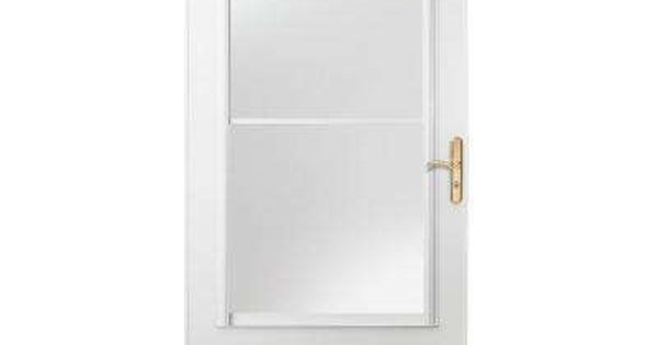 32 In X 80 In 400 Series White Universal Self Storing Aluminum Storm Door With Brass Hardware Aluminum Storm Doors Storm Door Retractable Screen Door