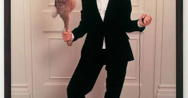 Sam Taylor-Wood, Self Portrait in Single-Breasted Suit with Hare, 2001.?