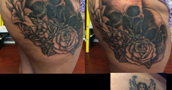 Cover up tattoo work in progress skulls and roses flowers for How to cover up tattoos for work