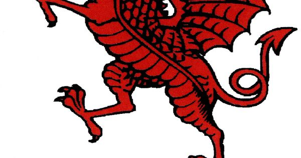 The Red Dragon Rampant With Gothic Rwf Script Crests