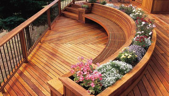Decks with curves curved bench deck design and decking - Jardineras modernas ...
