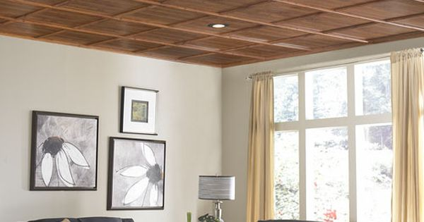 "Great way to upgrade ugly dropped ceiling that screams, ""basement!"" WoodTrac moldings"