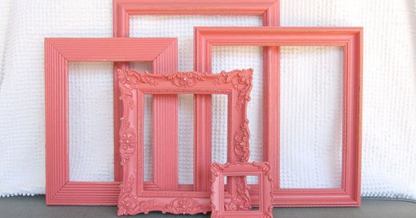 Coral Ornate Vintage Frames Upcycled Painted Open Frames