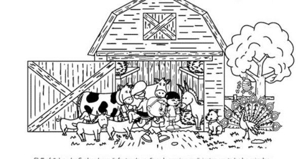Dibujos De Animales Adorables Para Colorear: Página Para Colorear Para Los Niños De Animales De Granja