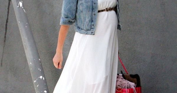 Any maxi and a jean jacket. Kristin Cavallari, adorable in a flowy