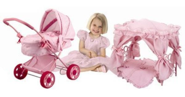Little Sarah Deluxe Doll Pram And Canopy Bed By Hauck