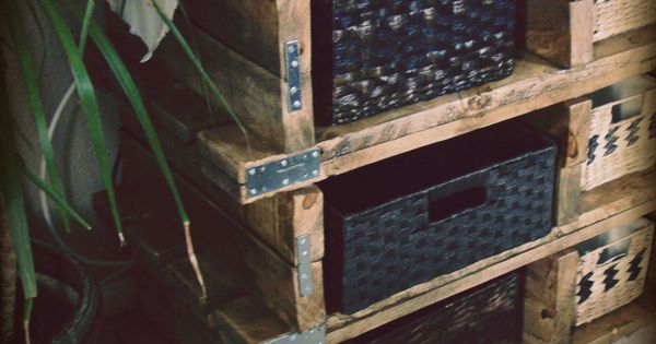 Wooden Pallet Storage. Here's to ditching the shoebox storage method