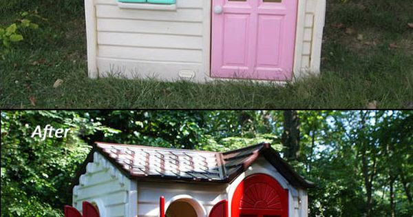 Typical Little Tikes playhouse painted with rustoleum spray paint. Looks so much