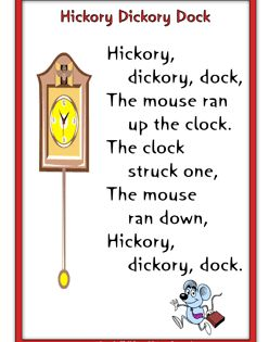 Hickory Dickory Dock learning nursery rhymes Pinterest