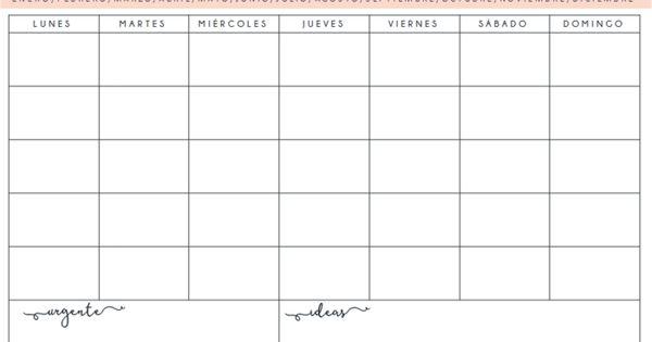 Planificador organizador semanal mensual descargar for Plantillas mr wonderful