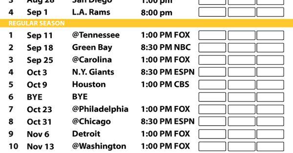 Minnesota Vikings 2016 Football Schedule Print Schedule