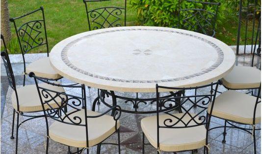 Table De Jardin Ronde En Mosaique De Marbre 160cm 125cm Imhotep Table De Jardin Table De Jardin Ronde Chaise Salle A Manger