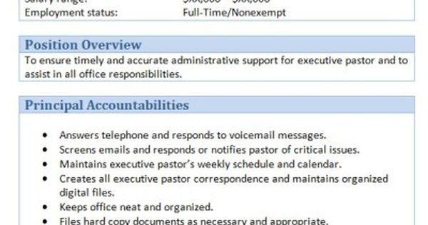 45 Free Downloadable Sample Church Job Descriptions Job Description Job Assistant Jobs