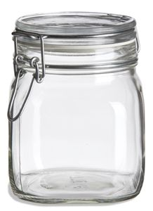 30 Oz Bale Square Glass Jar With Swing Top Lid Square Glass Jars Glass Jars Square Jars