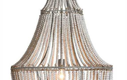 White Wash Metal And Wood Beads Chandelier This Coastal
