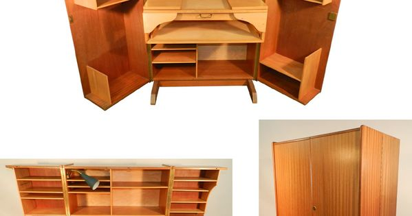 Compact home office desk 1950 acajou et bois clair for Meuble bureau 1950