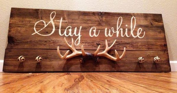 Stay A While Wood Antlers And Knobs Sign All Hand Painted