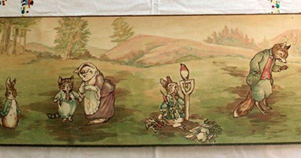 Antique 1920s beatrix potter peter rabbit nursery - Peter rabbit nursery border ...
