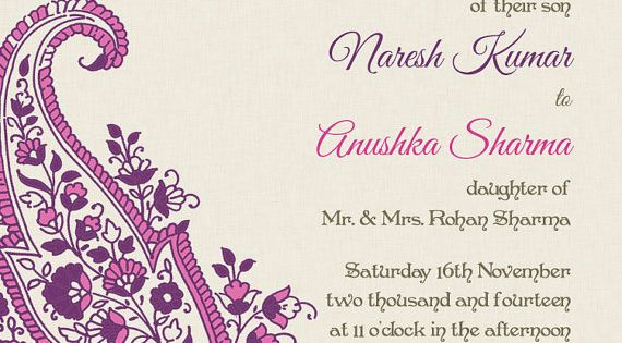 Indian Wedding Invite Wording: Paisley Motif - Pink - Indian Wedding Invitations