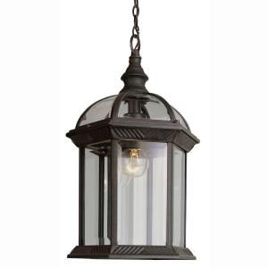 Bel Air Lighting Atrium 1 Light Outdoor Hanging Rust Lantern With Clear Glass 4183 Rt The Home Depot Outdoor Pendant Lighting Outdoor Hanging Lanterns Outdoor Hanging Lights