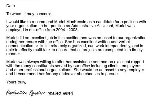 Provide An Employee Recommendation Letter Sample To Help