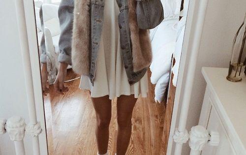 jacket grey art denim fur t-shirt legs blonde tumblr dress shoes scarf