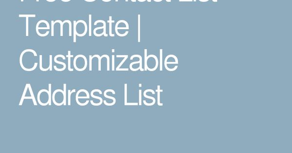 Free Contact List Template Customizable Address List Microsoft - free contact list template