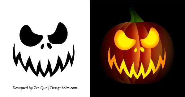 scary pumpkin template kids  Free Simple & Easy Pumpkin Carving Stencils / Patterns for ...