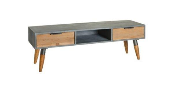Mesa estilo vintage para televisi n con dos cajones y for Muebles de madera color gris
