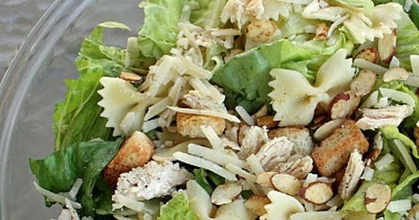 Bowtie Chicken Caesar Salad - feeds a crowd (lettuce, croutons, Almond Accents,
