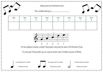 This Is A Composing Worksheet Where Pupils Create An 8 Beat Composition Using Notes Of The G Pentatonic Scale T Pentatonic Scale Music Worksheets Music Chords