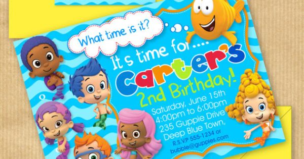 "NEW Bubble Guppies Party Invitation 5x7"" with Address Labels, Includes Envelope Templates"