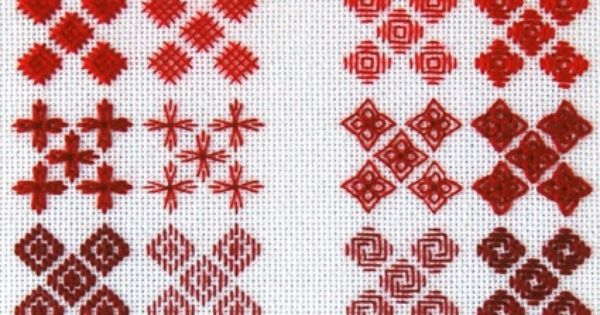 An embroidery technique using the shaped cross stitch