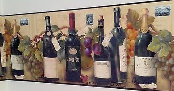 Wine And Grapes Wallpaper Border By Village Grape Wallpaper Wine Bottle Wall Wallpaper Border