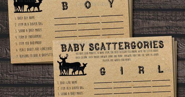 baby scattergories baby shower game woodland animal theme kraft