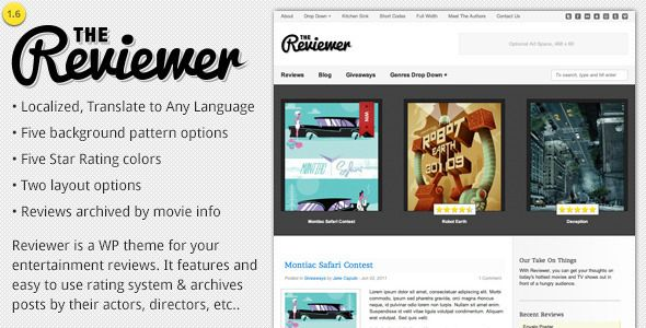 Reviewer - WP Theme for Entertainment Reviews Purpose, Template - film review template