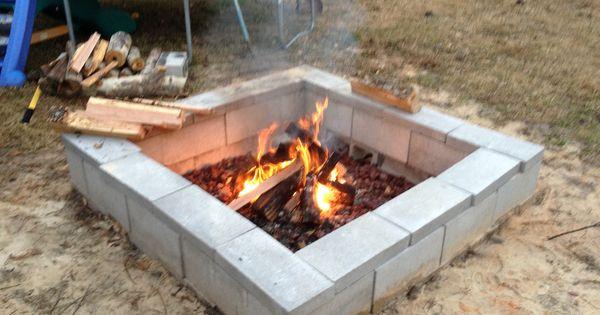 cinder block fire pit fire pit pinterest. Black Bedroom Furniture Sets. Home Design Ideas