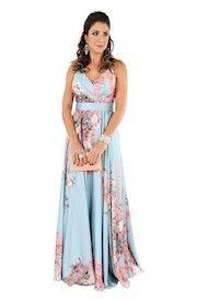 Vestido Longo Floral Seda Estampado Festas Casamentos Formaturas
