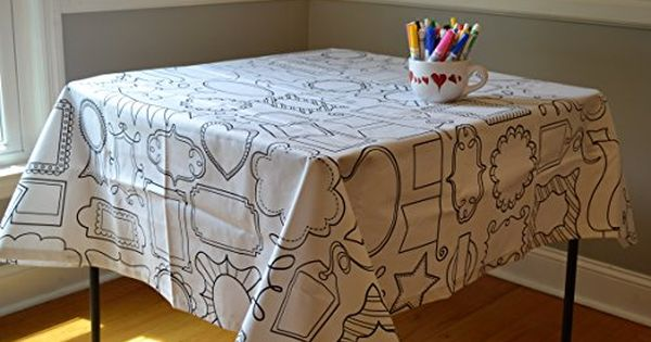 The Coloring Table Colorable Frame Fun Tablecloth Squ Https Www Amazon Com Dp B06vvgdkzf Ref Cm Sw R Pi Tablecloth Fabric Table Cloth Washable Crayons