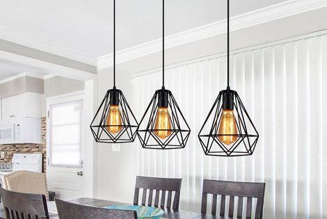 Lustre Suspension Cage Forme Diamant Contemporain Plafonnier Lampe Noir N11frzmd026 Lampes Noires Luminaires Salle A Manger Lustre Suspension