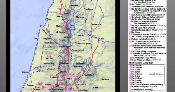 Bible Map: Joshua's Conquest of Canaan | Bible Study Tools ...
