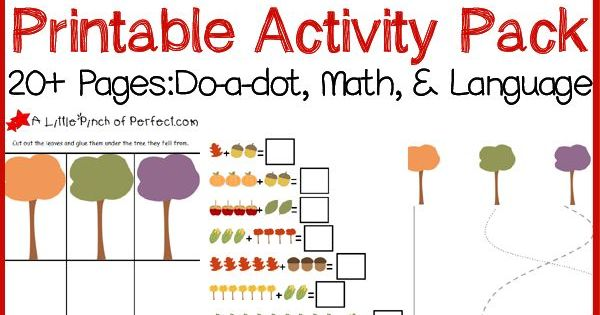 Free Fall Printable Activity Pack: Do-a-dot Pages, Math