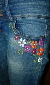 Resultado De Imagen Para Jeans Bordado Embroidery On Clothes Denim Embroidery Embroidered Jeans Diy