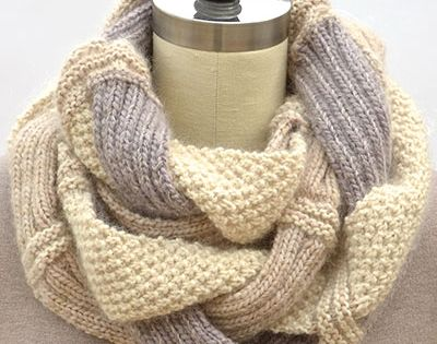 Patterns for Knit Infinity Scarves | Challah Infinity Scarf by Pam Powers