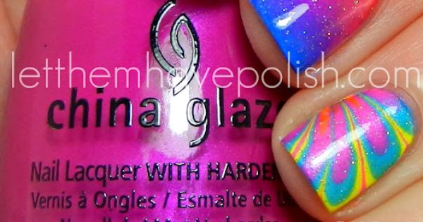 Nail Art from...Let them have Polish. Using China Glaze Summer Neons for