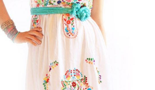 Alegria white Mexican embroidered bohemian dress - Aida Coronado