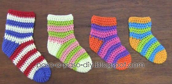 Cómo Tejer Calcetines Al Crochet Diy Explicación En Español Como Tejer Calcetines Tejer Calcetines Calcetines De Ganchillo