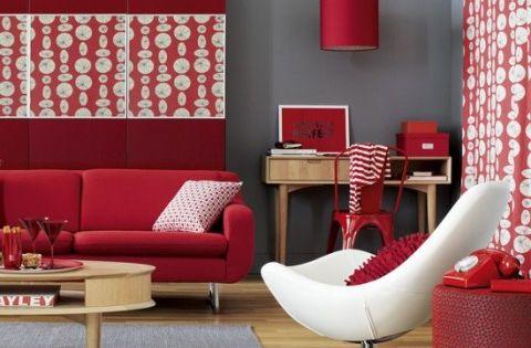 Decoraci n de interiores en rojo gris y blanco for Decoracion de interiores en color gris