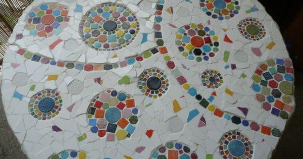 Les Bobines De Chantier Que Faire Avec Carolyne S Home Motifs En Mosaique Designs De Mosaique Table Mosaique