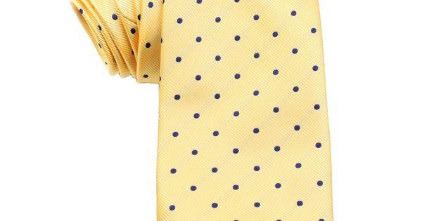 Yellow Tie with Navy Blue Polka Dots | Neckties | Australian Designer Ties $35 | Australia | OTAA